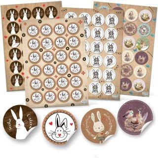 4 x 24 Osteraufkleber 4 cm mit Osterhasen - Sticker mit Ostermotiven