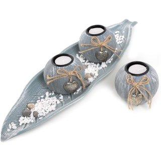 Deko Set zum Hinstellen grau blau - Teelichthalter mit Schale & Dekosteinen