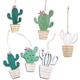 6 Kakteen Anhänger in grün braun - 10 cm - Kaktus aus Holz zum Aufhängen