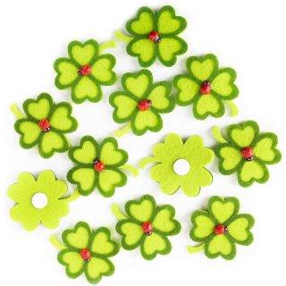 12 kleine Kleeblätter mit Klebepunkt - 5 cm grün - Glücksbringer zum Kleben Streuen
