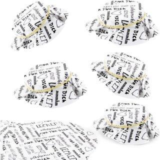 Schmuckdeckchen für Marmeladengläser Ø 14,8 cm aus Papier mit Text schwarz weiß