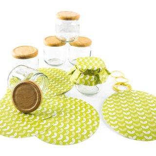 6 Einmachgläser mit Schraubdeckel + 10 grüne Schmuckdeckchen aus Recyclingpapier