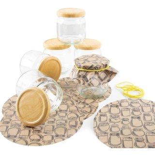 6 kleine Einmachgläser - 212 ml - mit Schraubverschluss + 10 Vintage Marmeladendeckchen