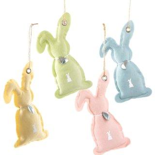 4 Stoffhasen Anhänger gelb grün rosa blau - Bunte Osterhasen aus Stoff als Ostergeschenk