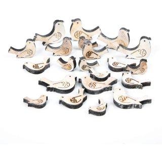 21 kleine Vögel aus Holz - Tauben Streudeko in braun weiß - an Ostern Hochzeit