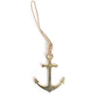 Maritime Metallanker mit Schnur zum Aufhängen Gold - 12 cm -