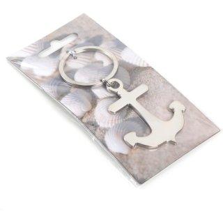 Schlüsselanhänger Anker aus Metall silberfarben - als Glücksbringer Geschenk
