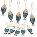 Mini Fisch Anhänger aus Holz in blau natur 6 cm...