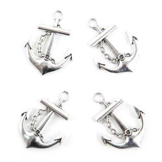 Silberne Anker mit Öse zum Aufhängen aus Metall - 4 cm - als Tischdeko Streudeko