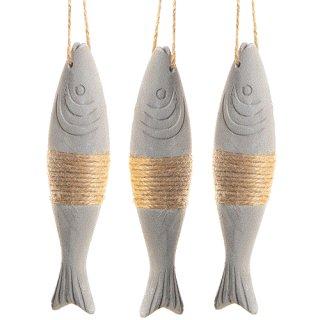 Grau braune Fischanhänger in 14,5 x 4 x 2,5 cm aus Beton - mit Band zum Aufhängen