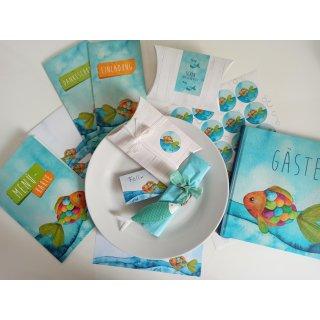 Maritime Fischanhänger mit Band in 12 cm aus Metall in weiß türkis blau zum Aufhängen