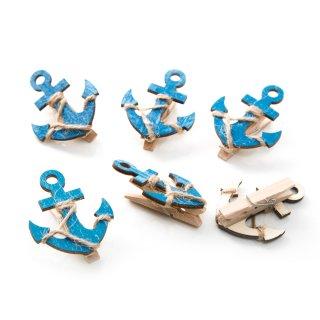 Holzklammern mit blauem Anker - 5,5 cm groß - für Dankeskarten Geschenkboxen
