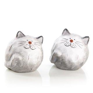 2 kugelrunde Katzen Figuren zum Hinstellen - 7,5 cm grau weiß – Katzenpaar aus Keramik