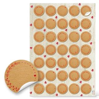 Kleine neutrale Blanko Aufkleber - 3,2 cm rund- braun rot zum Beschriften
