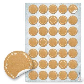Blankoetiketten - 3,2 cm rund - in braun mit weißen Verzierungen zum Beschriften