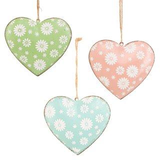3 große Metallherzen in rosa blau grün - Herzen zum Aufhängen aus Metall - 11 cm