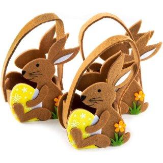 3 Osterhasen Henkeltaschen aus Filz in braun gelb - 12 x 8 x 5 cm - als Osterverpackung