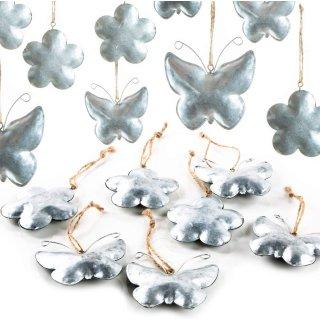 12 Frühlingsanhänger aus Metall Silber Schmetterling + Blume 6-7 cm