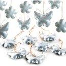 12 Frühlingsanhänger aus Metall Silber...