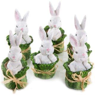 6 kleine Osterhasen Figuren im Salatkopf - weiß grün 8 cm - witzige Osterdeko als Geschenk