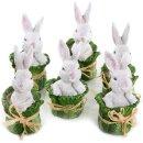 6 kleine Osterhasen Figuren im Salatkopf - weiß...