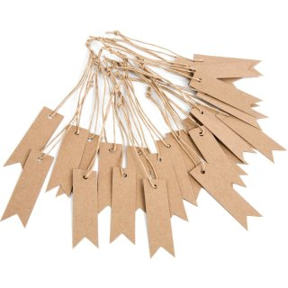 25 Hängeetiketten aus Kraftpapier - 7 x 2 cm braun blanko - mit Schnur zum Aufhängen