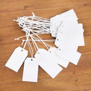 25 Papieranhänger aus Kraftpapier - 6 x 3,5 cm weiß blanko -  kleine Schilder zum Aufhängen