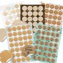 Logbuch-Verlag großes Aufkleber Set mit 129 Blankoaufklebern zum Beschriften + 35 Sprücheaufklebern - Universalaufkleber rund selbstklebend 3-4 cm
