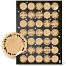 5 x 35 Aufkleber zum Beschriften & mit Sprüchen - rund, ca. 3 cm