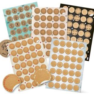 5 x 35 Geschenkaufkleber rund - 3,2 cm selbstklebend - Blankoaufkleber zum Beschriften