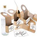 Flaschen Anhänger zum Befüllen + schwarz weiße Aufkleber HERZLICHEN DANK