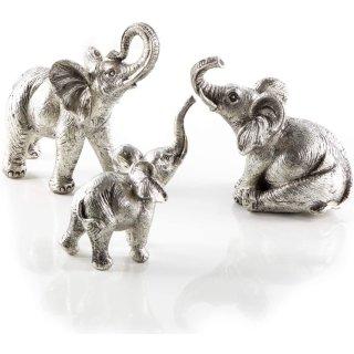 3 Elefantenfiguren aus Kunststein silberfarben glänzend - Deko Figuren zum Hinstellen