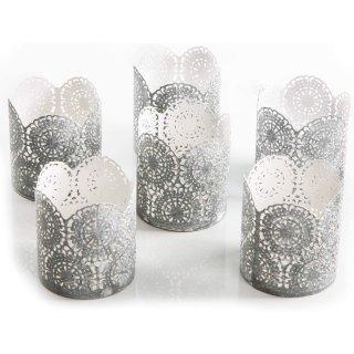 6 Teelichthalter aus Metall grau weiß Shabby chic - Durchbrochene Windlichthalter als Deko Geschenk