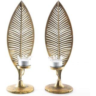 2 große Blätter aus Metall als Teelichthalter mit Glasaufsatz - Dekoobjekt zum Hinstellen 37,5 cm