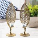 2 große Blätter aus Metall als Teelichthalter...