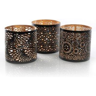 3 Windlichter aus Metall schwarz Gold - Windlichthalter 13 cm