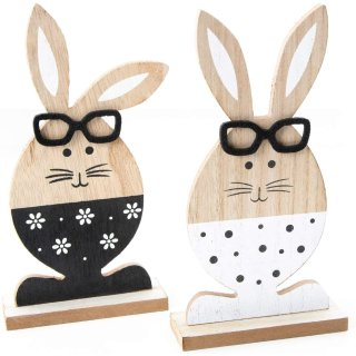 2 Osterhasen Dekofiguren aus Holz zum Hinstellen in schwarz weiß