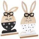 2 Osterhasen Dekofiguren aus Holz zum Hinstellen in...