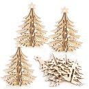 4 Weihnachtsbäume aus Holz - 15 cm Natur braun - zum...