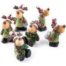 6 Rentier Figuren zum Hinstellen - 8 cm grün braun...