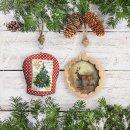 Große Deko Glocke zum Aufhängen mit Weihnachsmotiv - rot grün