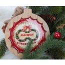 Runde Holztafel mit Weihnachtsmotiv zum Aufhängen - 16 cm