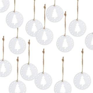 15 kleine Weihnachtsanhänger mit Bäumen und Sternen weiß - 5 x 0,4 cm