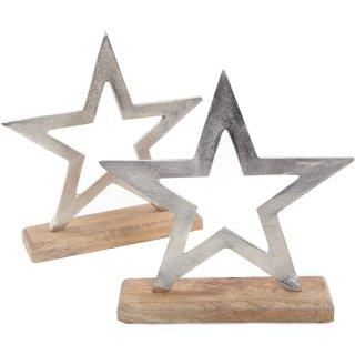 2 Sterne Figuren zum Hinstellen 21 cm aus Holz + Metall silberfarben