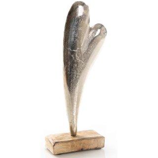 Große Herz Figur - geschwungen 28 cm - Silber aus Metall auf Holzsockel