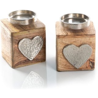2 Kerzenhalter aus Holz + Metall mit Herz - Vintage Teelichthalter