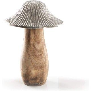 Dekofigur Pilz Silber braun 16 cm - Herbst Deko zum Hinstellen