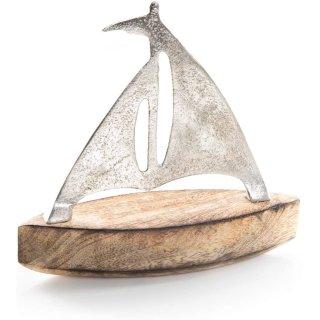 Segelschiff aus Metall & Mangoholz 17 cm Silber braun - maritime Deko