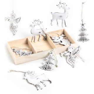 9 Metall Weihnachtsanhänger Baum + Hirsch + Engel - weiß Shabby chic