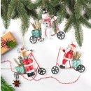 3 Weihnachtsanhänger - Schneemann + Rentier +...